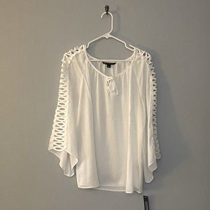 NWT White long sleeve blouse with side cutouts
